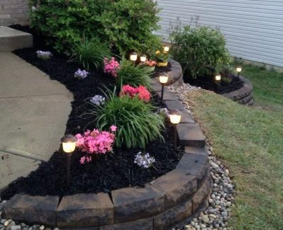 Retaining Wall Mulch and Stone