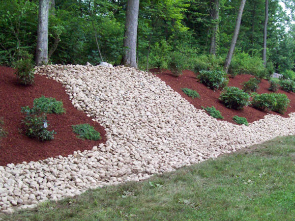 Red Cedar Mulch And Rock Garden Bed